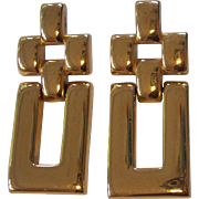 Large Gold tone Door Knocker Style Earrings Monet