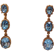 Faux Blue Topaz MFA Dangling Earrings Gold tone Museum of Fine Arts Boston