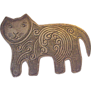 Folk Art Cat Brooch in Silver tone