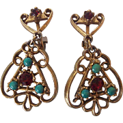 Vintage Faux Ruby and Turquoise Dangle Earrings