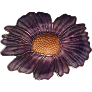 Lovely Purple Enamel Flower Brooch Silver tone