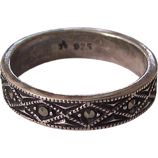 Vintage Sterling Marcasite Ring Silver Band