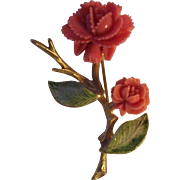 Vintage Faux Coral Roses with Green Enamel Leaves Gold tone Brooch