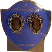Vintage Whiting Davis Glowing Cameo Earrings Gold tone