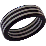 Black + White Lucite Striped Ring Mod