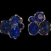 Vintage Coro Beautiful Blue Rhinestone Earrings Silver tone