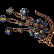 Vintage Blue Aurora Borealis Gold tone Floral Rhinestone Brooch