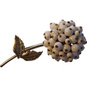 Vintage White Beaded Dimensional Flower Pin Gold tone