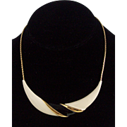 Mod Black Cream Enamel Gold tone Necklace Monet