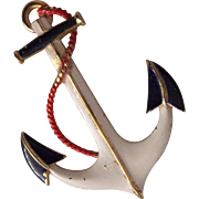 Vintage Nautical Anchor Patriotic Brooch Red White Blue Enamel Gold tone