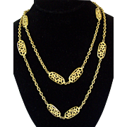 Wonderful Trifari Extra Long Crescent Moon Necklace Gold tone