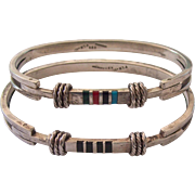 Set Mexican Sterling Inlaid Stone Inlay Bangle Bracelets