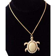 Large Turtle Cabochon Pendant Necklace in Gold tone