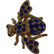 Joan Rivers Blue Rhinestone Gold tone Bumble Bee Insect Brooch