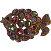 Gem Craft Pastel Rhinestone Gold tone Fish Brooch
