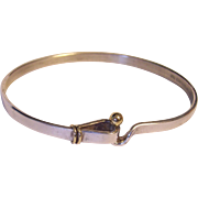 Tiffany & Co Sterling and 18K Gold Vintage Hook & Eye Bangle Bracelet