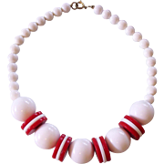 Great Red & White Lucite Discs & Balls Bead Necklace