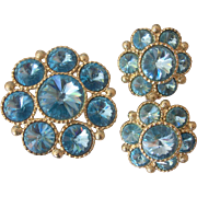 Beautiful Blue Rivoli Brooch and Earrings Set