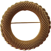 Kramer Gold tone Mesh Circle Brooch