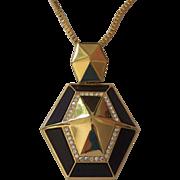 Designer Vince Camuto Bold Gold tone Rhinestones Black Geometric Necklace