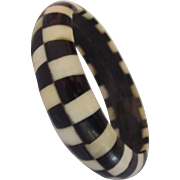 Black and White Checkered Bone Bangle Bracelet