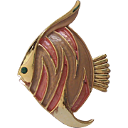 Tropical Angel fish Enamel Gold tone Brooch