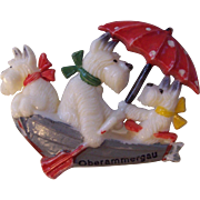 Celluloid Dogs in a Boat Brooch Souvenir Oberammergau Germany
