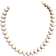 Monet White Melon Shaped Beaded Necklace with Gold tone