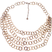 Multi Strand RJ Graziano Textured Gold tone Circles Necklace