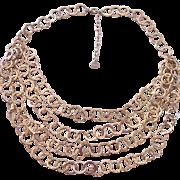 Multi Strand RJ Graziano Textured Gold tone Circles Necklace