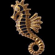 Blue Enamel Rhinestone Gold tone Seahorse Brooch Sea horse
