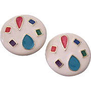 Big Enamel Earrings with Colorful Shapes