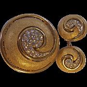 Trifari Rhinestone Textured Gold tone Swirly Brooch Earrings Set Crown Mark