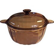 Corning Sculptured Visions 4.5L/5Q Dutch Oven Covered Pot Amber Vision ware