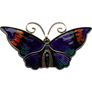 David Andersen Enamel Guilloche Sterling Butterfly Pin Norway