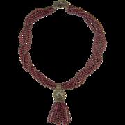 Vintage Judith Jack Garnet Sterling Marcasite 4 Strand Necklace Art Deco Style