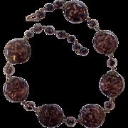Beautiful Czech Art Glass Beads Brass Filigree Necklace