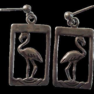 Vintage Sterling Flamingo Earrings