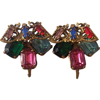 Old Czech Brass Filigree and Colored Rhinestone Screw on Earrings Czechoslovakia