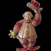 Vintage Clown Brooch KJL / Hattie Carnegie Enamel Faux Pearl Rhinestones
