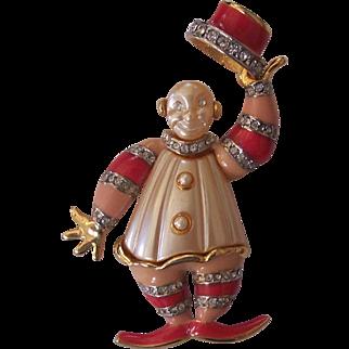 Whimsical Clown Brooch KJL / Hattie Carnegie Enamel Faux Pearl Rhinestones