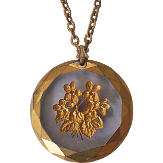 Reverse Carved Painted Crystal Pendant Necklace Floral