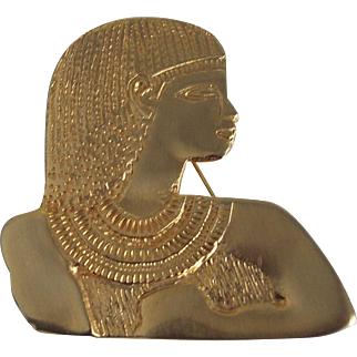 Large Egyptian Pharaoh Gold tone Brooch