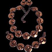 Fab Rebajes Necklace Bracelet Earrings Mid Century Copper Set