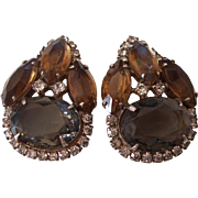 Gorgeous Hattie Carnegie Gray and Topaz RS Earrings