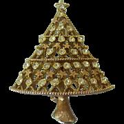 J.J Christmas Tree Brooch Rhinestones Gold tone JJ Jonette