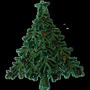 Vintage LIA Lianna Green Christmas Tree Brooch Colored Rhinestones
