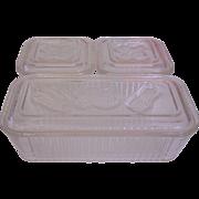 Federal Glass Vegetables Refrigerator Leftovers Dish Box Set