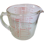 Vintage Pyrex 4C 1Q, D- Handle Measuring Cup Red Print