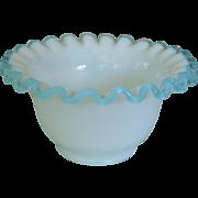 Fenton Aqua Blue Crest Ruffled Edge Pot Bowl